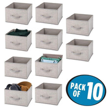 Load image into Gallery viewer, Heavy duty mdesign soft fabric closet storage organizer holder cube bin box open top front handle for closet bedroom bathroom entryway office textured print 10 pack linen tan