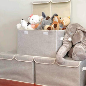 Discover the large storage boxes 3 pack ezoware large linen fabric foldable storage cubes bin box containers with lid and handles for nursery closet kids room toys baby products silver gray