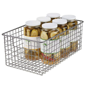 Kitchen mdesign farmhouse decor metal wire food organizer storage bin basket with handles for kitchen cabinets pantry bathroom laundry room closets garage 16 x 9 x 6 in 8 pack graphite gray