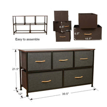 Load image into Gallery viewer, Save on home dresser storage tower sturdy steel frame mdf wood top removable drawers height adjustable feet storage organizer for room hallway entryway closets 5 drawers espresso 39 5w 21 5h