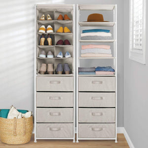 Select nice mdesign vertical dresser storage tower sturdy steel frame easy pull fabric bins organizer unit for bedroom hallway entryway closets textured print 4 drawers 4 shelves linen tan