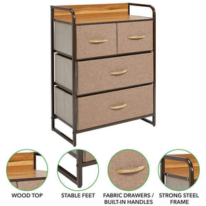 Results mdesign dresser storage chest sturdy metal frame wood top easy pull fabric bins organizer unit for bedroom hallway entryway closet textured print 4 drawers coffee espresso brown