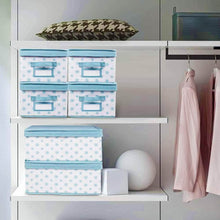 Load image into Gallery viewer, Kitchen homyfort foldable storage box bins with lid sturdy canvas drawer dresser organizer for closet clothes bras ties set of 2 white canvas with blue flowers