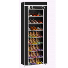 Load image into Gallery viewer, Exclusive civilys 10 tier shoe tower rack with cover 27 pair space saving closet shoe storage boot organizer cabinet us stock black