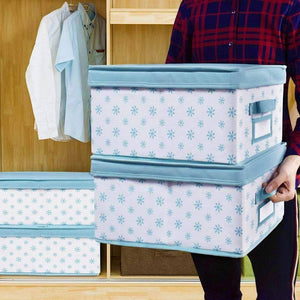 Home homyfort foldable storage box bins with lid sturdy canvas drawer dresser organizer for closet clothes bras ties set of 2 white canvas with blue flowers