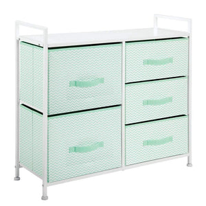 Products mdesign wide dresser storage tower furniture metal frame wood top easy pull fabric bins organizer for kids bedroom hallway entryway closet dorm chevron print 5 drawers mint green white