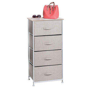 New mdesign vertical furniture storage tower sturdy steel frame wood top easy pull fabric bins organizer unit for bedroom hallway entryway closets textured print 4 drawers linen natural