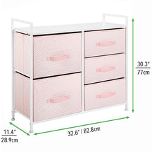 Load image into Gallery viewer, Top rated mdesign wide dresser storage tower furniture metal frame wood top easy pull fabric bins organizer for kids bedroom hallway entryway closets dorm chevron print 5 drawers pink white