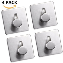 Load image into Gallery viewer, Best 4 pack towel hook 3m self adhesive hooks 304 stainless steel closets coat towel robe hook rack wall mount for bathroom