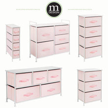 Load image into Gallery viewer, Try mdesign wide dresser storage tower furniture metal frame wood top easy pull fabric bins organizer for kids bedroom hallway entryway closets dorm chevron print 5 drawers pink white