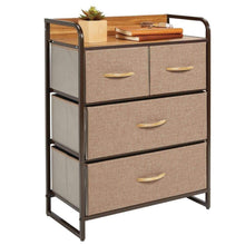 Load image into Gallery viewer, Products mdesign dresser storage chest sturdy metal frame wood top easy pull fabric bins organizer unit for bedroom hallway entryway closet textured print 4 drawers coffee espresso brown