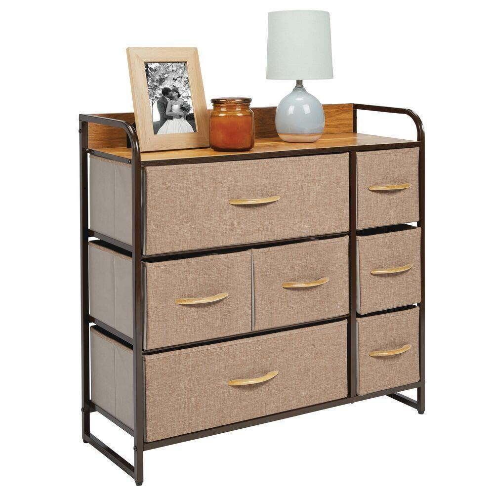 Selection mdesign wide dresser storage chest sturdy steel frame wood top easy pull fabric bins organizer unit for bedroom hallway entryway closet textured print 7 drawers coffee espresso brown