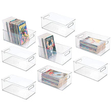 Load image into Gallery viewer, Best mdesign plastic home storage organizer container bin with handles for closets cabinets shelves hold dvds video games head sets controllers comics movies 14 5 long 8 pack clear
