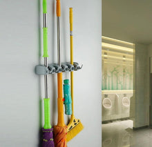 Load image into Gallery viewer, Buy yantu mop and broom holder wall mounted garden tool storage tool rack storage organization for your home closet garage and shed holds up to 9 tools superior quality tool rack holds mops brooms or sports equipment 4 position
