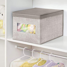 Load image into Gallery viewer, Save mdesign decorative soft stackable fabric closet storage organizer holder box clear window lid for child kids room nursery large collapsible foldable textured print 4 pack linen tan