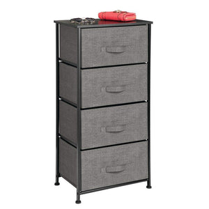 Discover mdesign vertical dresser storage tower sturdy steel frame wood top easy pull fabric bins organizer unit for bedroom hallway entryway closets textured print 4 drawers charcoal gray black