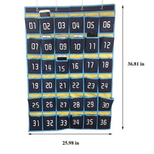 Load image into Gallery viewer, Related loghot numbered classroom sundries closet pocket chart for cell phones holder wall door hanging organizer blue 36 pockets with digital