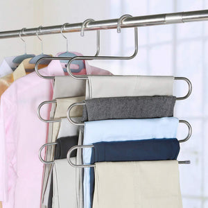 Home syidinzn pants hangers rack holder stand shelf organizer stainless steel s shape multi purpose hangers storage rack for clothes pants jeans trousers scarfs ties towels closet