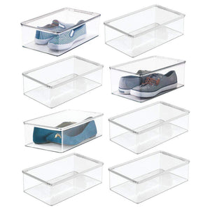 Budget mdesign stackable plastic closet shelf shoe storage organizer box with lid for mens womens kids sandals flats sneakers 8 pack clear