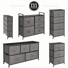 Load image into Gallery viewer, Discover the best mdesign vertical dresser storage tower sturdy steel frame wood top easy pull fabric bins organizer unit for bedroom hallway entryway closets textured print 3 drawers charcoal gray black