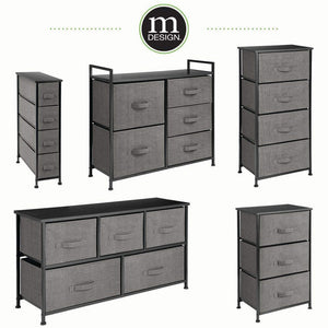 Discover the best mdesign vertical dresser storage tower sturdy steel frame wood top easy pull fabric bins organizer unit for bedroom hallway entryway closets textured print 3 drawers charcoal gray black