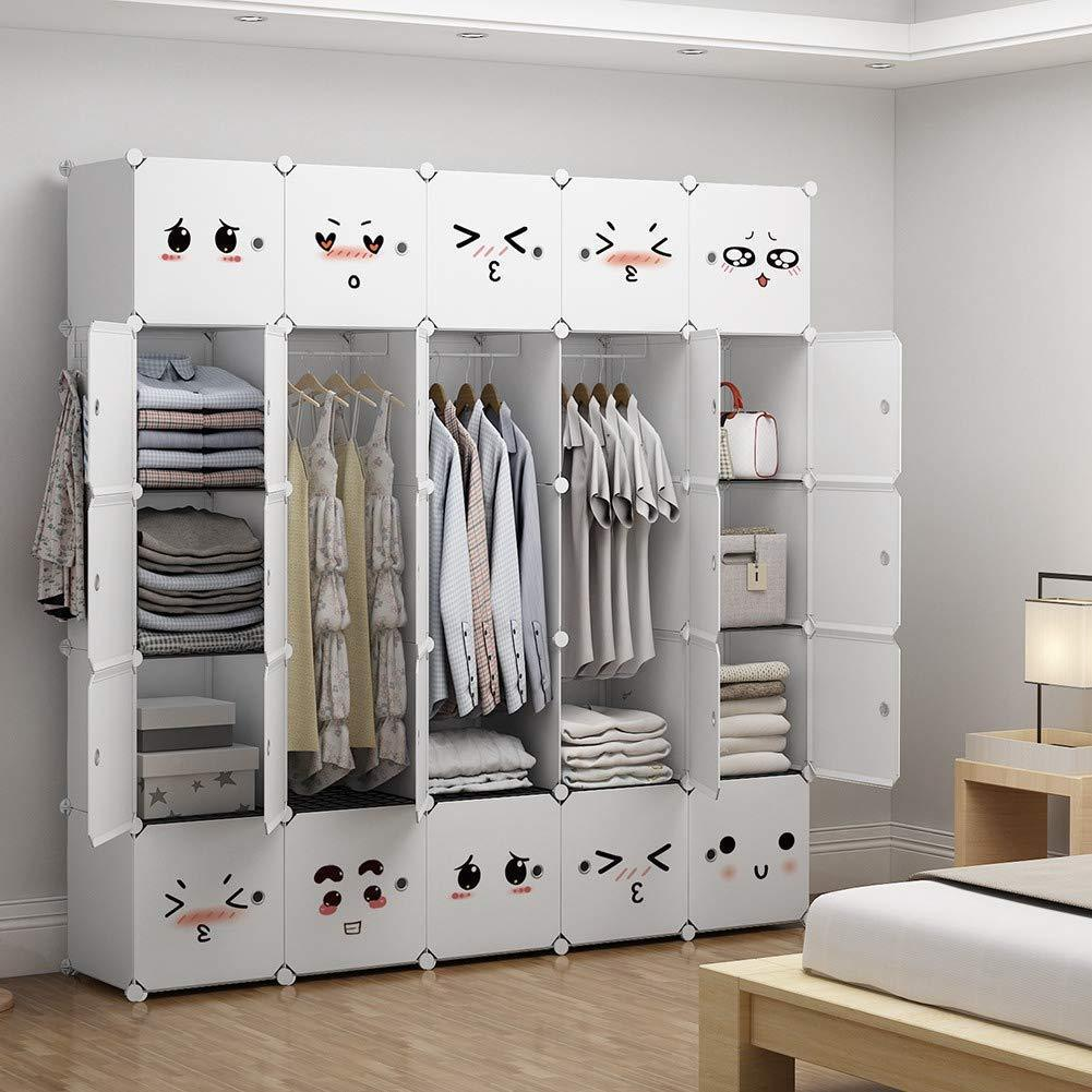 Organize with george danis portable closet plastic dresser for kids teenagers modular wardrobe cube storage organizer book shelf toy cabinet white 14 inches depth 5x5 tiers