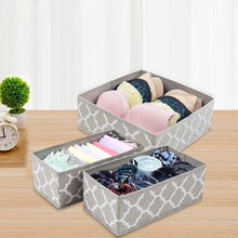 Load image into Gallery viewer, Home foldable cloth storage box closet dresser drawer organizer cube basket bins containers divider with drawers for underwear bras socks ties scarves set of 6 light coffee with white lantern pattern