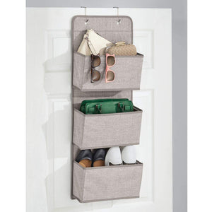 Shop here mdesign a568 soft fabric over the door hanging storage organizer with 3 large pockets for closets in bedrooms hallway entryway mudroom hooks included textured print 2 pack linen tan