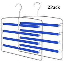 Load image into Gallery viewer, On amazon rosinking slack hangers swing arm pants 2 pack multi layers removeable stainless steel scarf slack hangers non slip clothes rack with foam padded rotatable hook closet space saving organizer