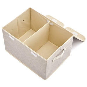 Explore large storage boxes 3 pack ezoware large linen fabric foldable storage cubes bin box containers with lid and handles for nursery closet kids room toys baby products silver gray