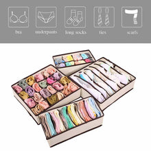 Load image into Gallery viewer, Save on aitmexcn closet underwear organizer foldable storage box drawer divider kit for socks panties bra ties clothing set of 4 beige