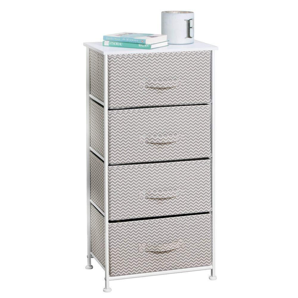 Products mdesign vertical furniture storage tower sturdy steel frame wood top easy pull fabric bins organizer unit for bedroom hallway entryway closets chevron zig zag print 4 drawers taupe