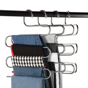 Discover the best multi purpose pants hangers ceispob s type 5 layers stainless steel clothes hangers storage pant rack closet space saver for trousers jeans towels scarf tie 4 pack