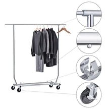 Load image into Gallery viewer, Heavy duty house day portable clothes rack portable closet rolling clothes rack foldable clothes stand commercial grade for professional use