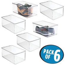 Load image into Gallery viewer, Selection mdesign stackable closet plastic storage bin box with lid container for organizing mens and womens shoes booties pumps sandals wedges flats heels and accessories 5 high 6 pack clear