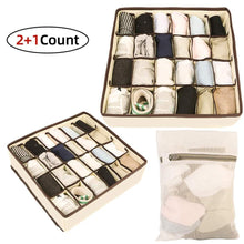 Load image into Gallery viewer, Results skyugle sock organizer underwear drawer divider 24 cell collapsible closet foldable clothes tie handkerchief wardrobe cabinet storage boxes beige 2 packs 1 mesh laundry bag for sock underwear