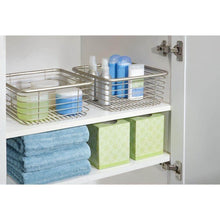 Load image into Gallery viewer, Related mdesign modern bathroom metal wire metal storage organizer bins baskets for vanity towels cabinets shelves closets pantry kitchens home office 9 75 square 4 pack satin