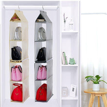 Load image into Gallery viewer, Related kingto detachable hanging handbag organizer 4 slot 2 in 1 dustproof foldable sundry wardrobe closet space saving organizers system for living room bedroom home usegrey