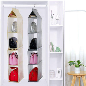 Related kingto detachable hanging handbag organizer 4 slot 2 in 1 dustproof foldable sundry wardrobe closet space saving organizers system for living room bedroom home usegrey