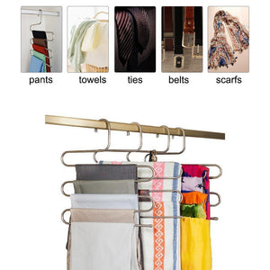 Selection eityilla s type clothes pants hangers stainless steel space saving hangers 5 layers closet storage organizer for jeans trousers tie belt scarf 6 pieces