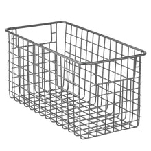 Load image into Gallery viewer, Save mdesign farmhouse decor metal wire food storage organizer bin basket with handles for kitchen cabinets pantry bathroom laundry room closets garage 12 x 6 x 6 4 pack graphite gray