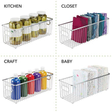 Load image into Gallery viewer, Featured mdesign deep metal bathroom storage organizer basket bin farmhouse wire grid design for cabinets shelves closets vanity countertops bedrooms under sinks 4 pack chrome