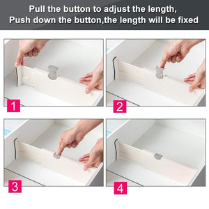 Discover the best drawer dividers organizer 5 pack adjustable separators 4 high expandable from 11 17 for bedroom bathroom closet clothing office kitchen storage strong secure hold foam ends locks in place