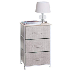 Storage mdesign vertical dresser storage tower sturdy steel frame wood top easy pull fabric bins organizer unit for bedroom hallway entryway closets textured print 3 drawers linen natural