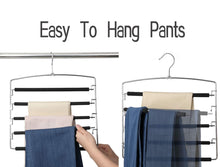 Load image into Gallery viewer, Selection meetu pants hangers 5 layers stainless steel non slip foam padded swing arm space saving clothes slack hangers closet storage organizer for pants jeans trousers skirts scarf ties towelspack of 4