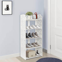 Load image into Gallery viewer, Online shopping ejoyous 5 tier shoes rack white wood plastic modern space saving display shoe tower free standing shoes storage organizer closet shelves holder container for home office support hold 10 pair