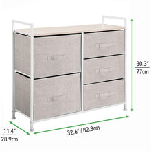 Load image into Gallery viewer, Best mdesign wide dresser storage tower sturdy steel frame wood top easy pull fabric bins organizer unit for bedroom hallway entryway closets textured print 5 drawers linen tan