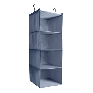 Related ishealthy hanging closet organizer and storage 4 shelf easy mount foldable hanging closet wardrobe storage shelves clothes handbag shoes accessories storage washable oxford cloth fabric gray