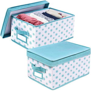 Great homyfort foldable storage box bins with lid sturdy canvas drawer dresser organizer for closet clothes bras ties set of 2 white canvas with blue flowers