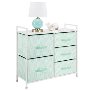 Order now mdesign wide dresser storage tower furniture metal frame wood top easy pull fabric bins organizer for kids bedroom hallway entryway closet dorm chevron print 5 drawers mint green white